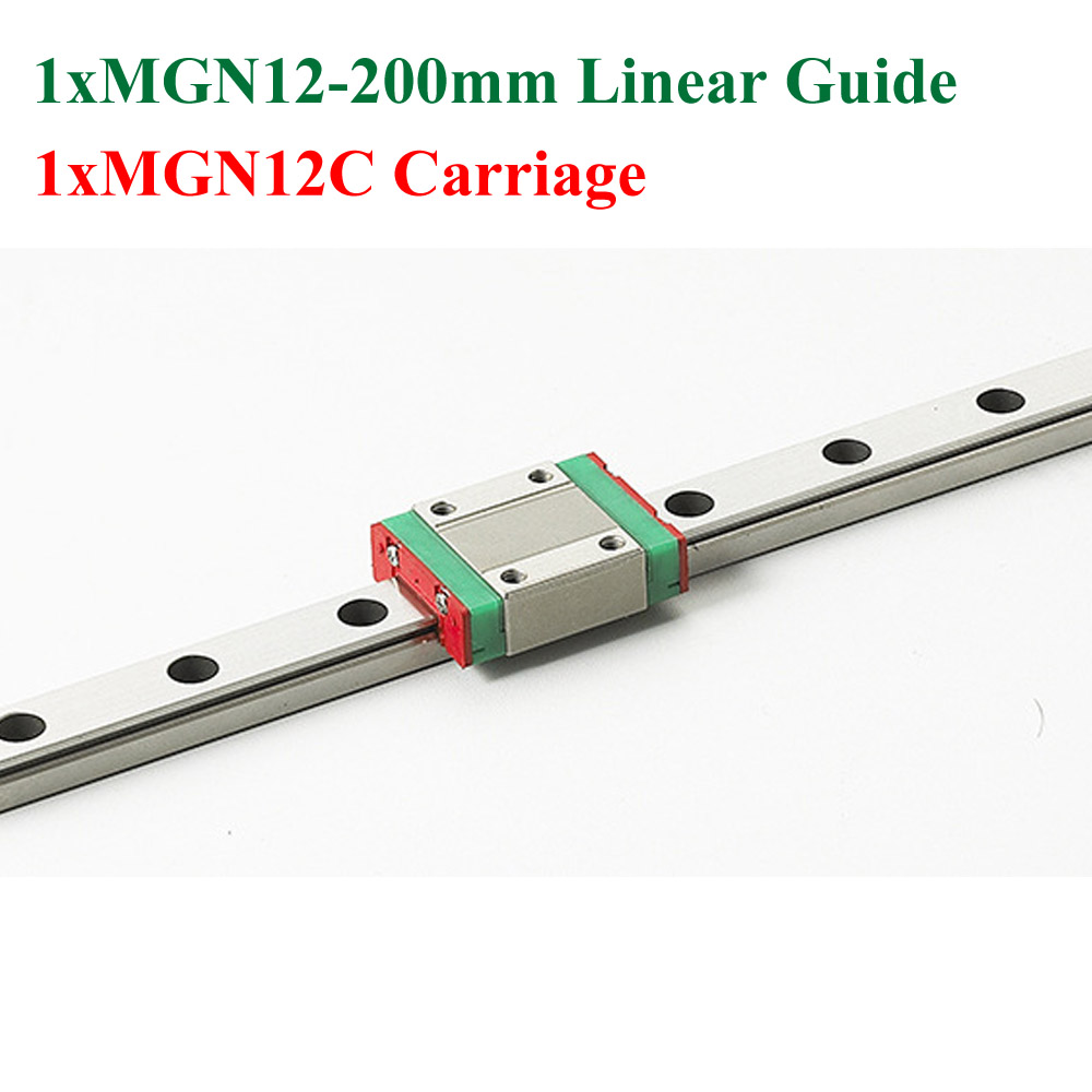 MR12 12mm Mini Linear Guide Rail MGN12 Length 200mm With MGN12C Block Carriage Miniature Linear Motion Guide Way For Cnc mr12 12mm linear rail guide mgn12 length 500mm with mini mgn12h mgn12c linear carriage miniature linear motion guide way for cnc