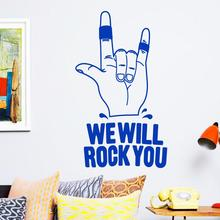 цена на Art design home decoration cheap vinyl we will rock you wall sticker removable house decor famous English song decal in bedroom