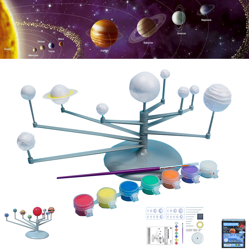 Solar System Model DIY Toys Child Science And Technology Learning Solar System Planet Teaching Assembly Coloring Educational Toy