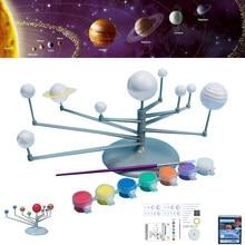 태양계 모델 DIY 장난감 어린이 과학 및 기술 학습 태양계 행성 교육 어셈블리 색칠 교육 장난감
