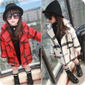 2016 girl's woolen coat girl's blends children fashion woolen plaid overcoat kid's outerwear lengthen