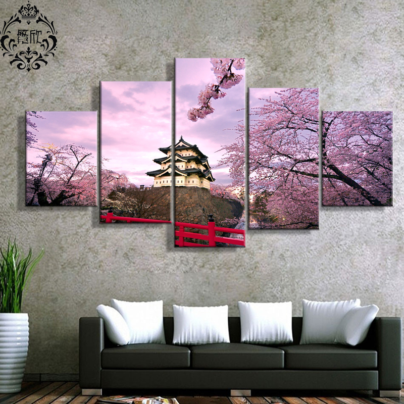 Painting Wall Art Canvas Printed Modern 5 Panel Cherry Blossom Japan Modular Pictures Home Decor For Living Room Poster Cuadros no frame canvas