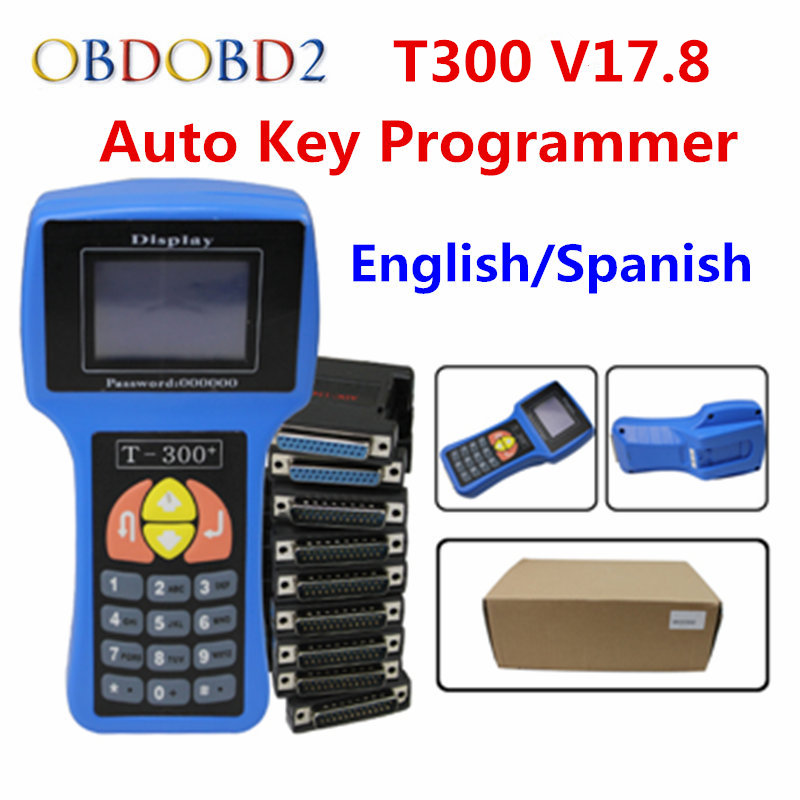 High Quality T 300 T 300 Auto Key Maker T300 2016 V17.8 OBD2 Car Key Programmer English Spanish Optional T Code Decoder