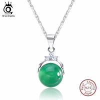 925 Sterling Silver Green Agate Pendant Necklaces With 3 Pieces Shiny Austrian Crystal For Women Fine