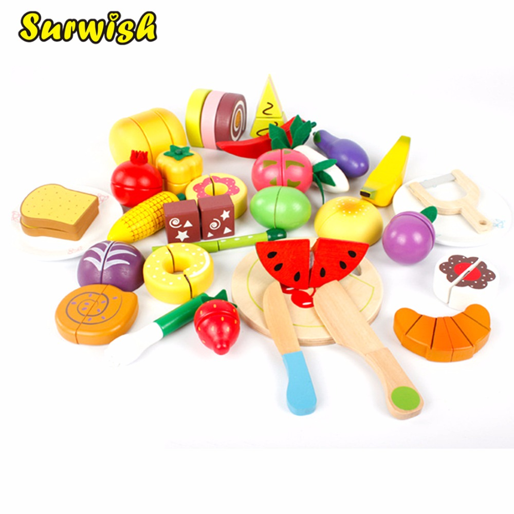 32Pcs/Set Wooden Fruit Vegetables Cutting Toy Early Development and Education Toy for Baby - Color Random все цены