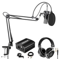 Neewer NW 700 Pro Condenser Microphone and Monitor Headphones Kit with 48V Phantom Power Supply, NW 35 Boom Scissor Arm Stand