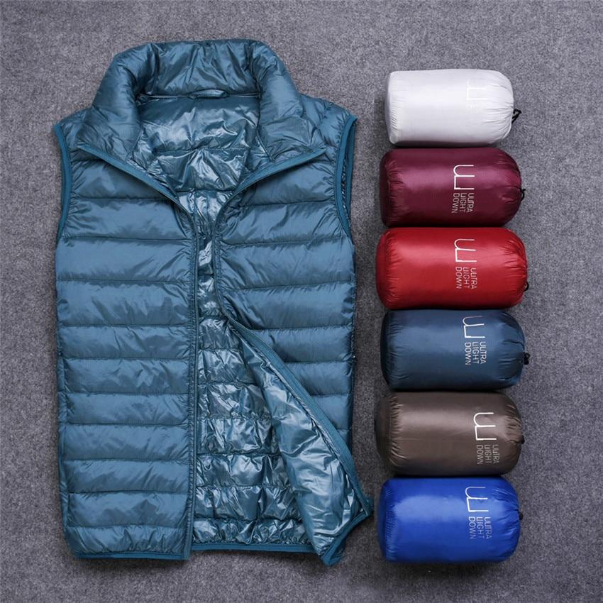 2019 Winter Men White Duck Down Vests Sleeveless Jacket Ultra Light Waistcoat Autumn Slim Men Short Jackets Coats Outerwear 841
