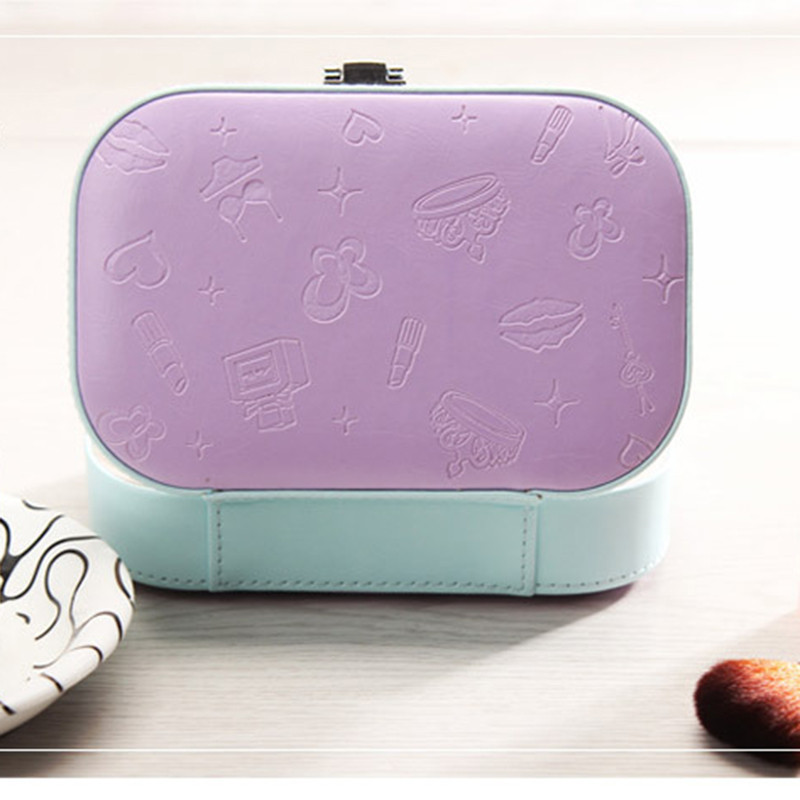 Fashion Womens Mini Jewelry Box Travel Makeup Organizer Faux Leather Casket With Zipper Cheap Classic Style Jewellery Case JSX