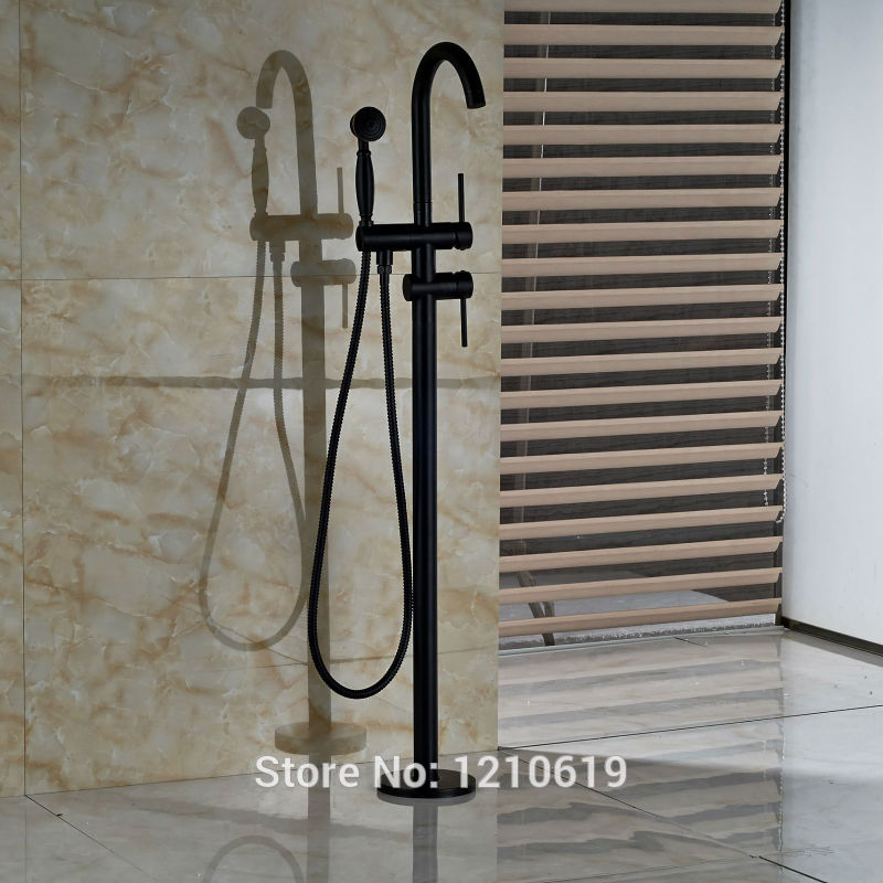 Newly Floor Standing Bathtub Faucet w/ Hand Shower Oil Rubbed Bronze Shower Tub Mixer Faucet Tap oil rubbed bronze waterfall tub mixer faucet free standing floor mount bathtub faucet with handshower