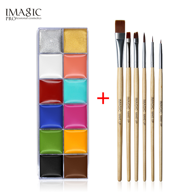 IMAGIC 12 Flash Tattoo Color + 6st Färgborste Halloween Face Body Paint Oljemålning Art Cosmetic Make Up Set Party Fancy Dress