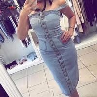Women Denim Dress 2019 Summer Suspender Sundress Sarafan Overalls Dress Vintage Blue Sexy Bodycon Female Party Jeans Dress