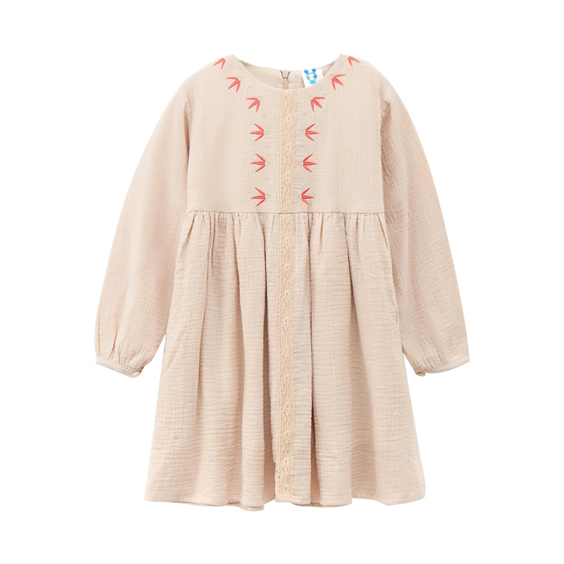 New Girl Dress Spring Long-sleeved Flower Embroidery Children Cotton Linen Dresses Autumn Girls Clothes for 3-14 Years CA186 new spring autumn girls lace princess dress hollow long sleeved chrismas new year dresses girls clothes roupa infantil feminina