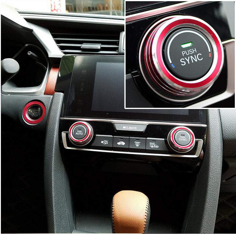 Aluminum SWITCH KNOBS KEY IGNITION RING COVER FIT FOR HONDA CIVIC 2016 2017 HEATER HEAT CLIMATE ...