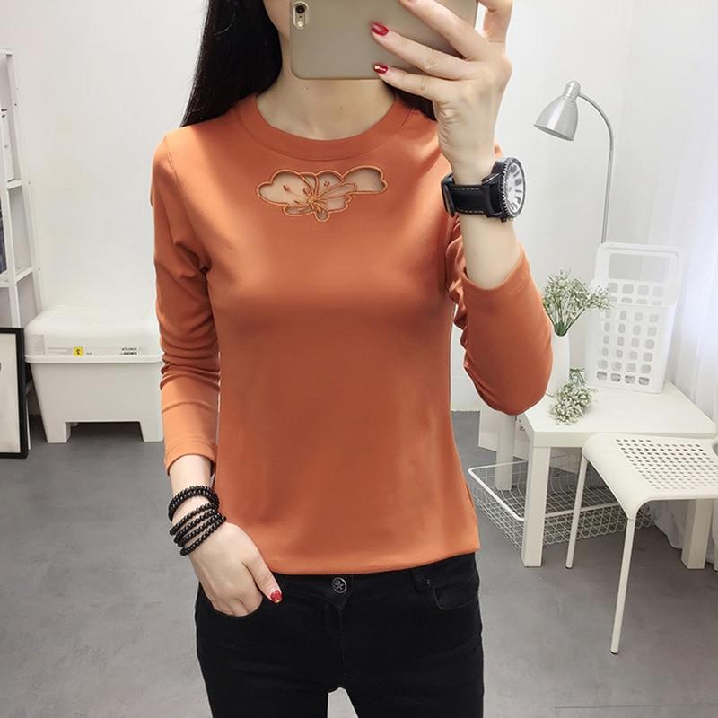 2018 Autumn Korean Style Tshirt Women Slim Tee Shirt Femme Vogue Tops Long Sleeve T Shirts Hollow Out Tee Shirt Camisa Feminina in T Shirts from Women 39 s Clothing
