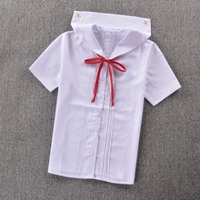 "Super Cute ! Schoolgirl Sailor Collar short-sleeve White shirt "" front back organ pleated "" Pentagram embroidery"