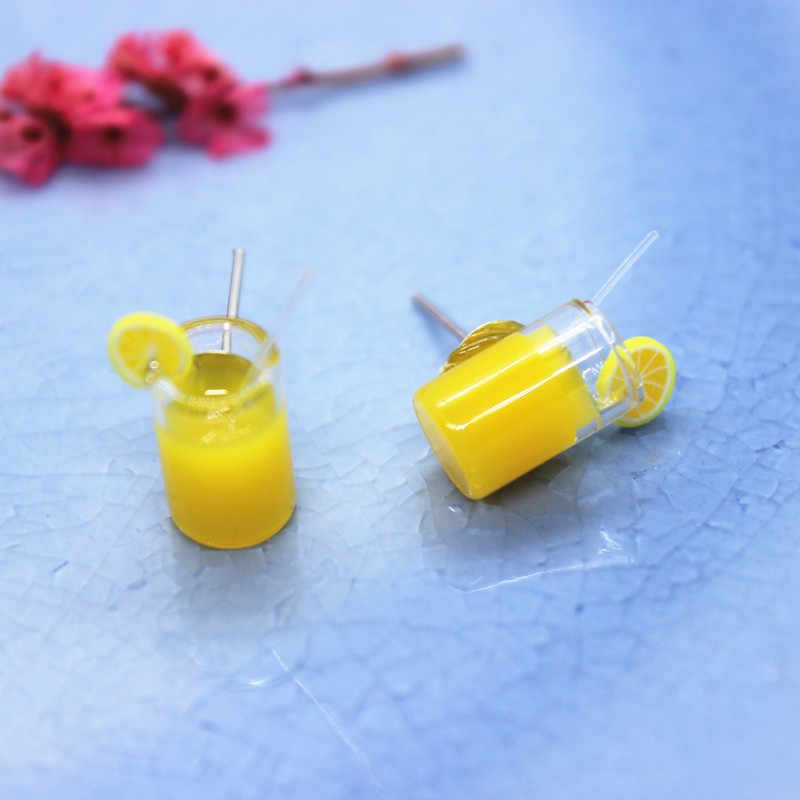 Small and Exquisite Taste Lemonade Cup Earrings Summer Personality DIY Gifts Jewelry Ladies Fashion Creative Funny Accessories