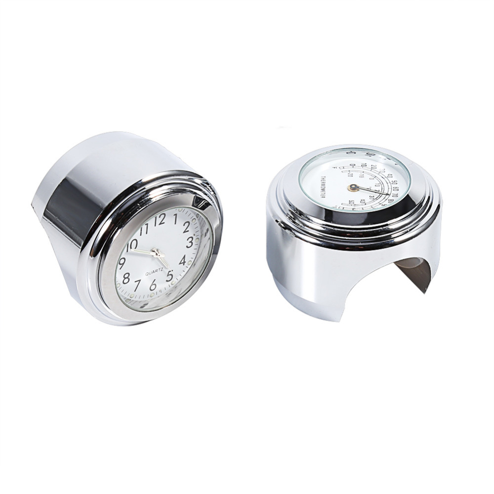 VGEBY 7/8 1 Motorcycle Handlebar Mount Watch Dial Clock & Thermometer Temp White
