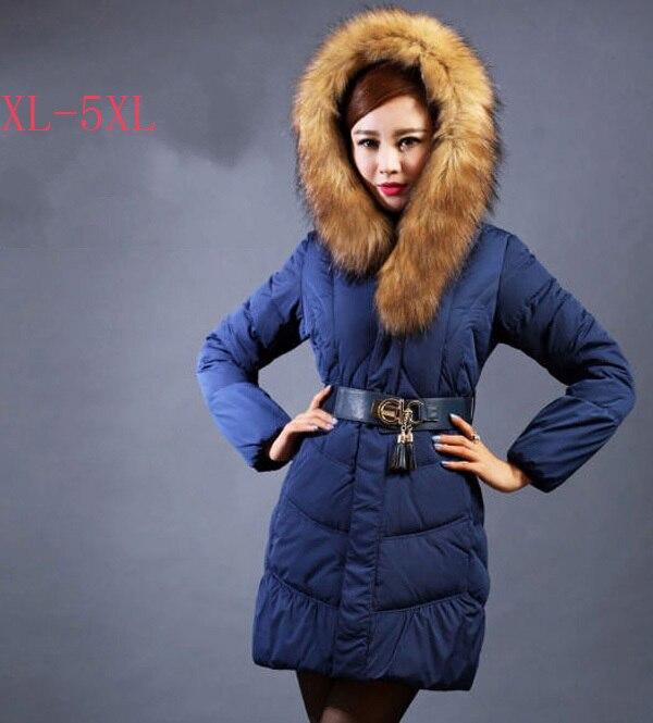 2014 Winter Mid-Aged Women Duck Down Parkas Plus Size Big Fur Collar Mum Slim Overcoat Solid Belt Zipper Long Coat 4Xl 5Xl E790