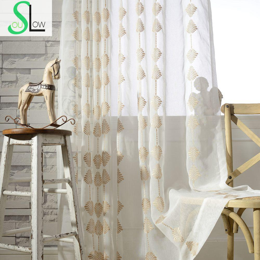 Modern Curtain Embroidered Geometric Tulle Sheer Curtains Cortinas ...