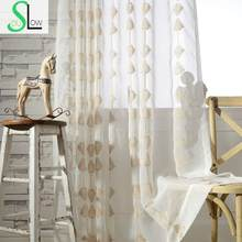 Modern Curtain Embroidered Geometric Tulle Sheer Curtains Cortinas Para Sala Tende Per Soggiorno Rideaux Pour Le Salon CL-107(China)
