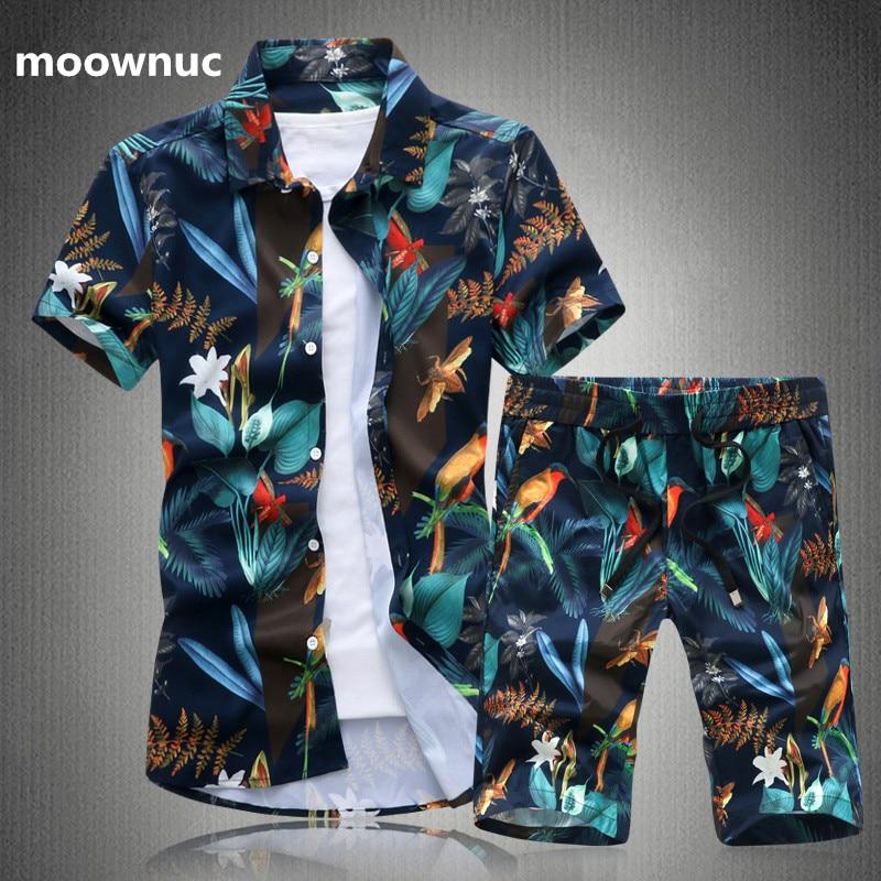 (Рубашка + брюки) Летняя мужская рубашка Мужская Печать с коротким рукавом рубашки мужские высококачественные повседневные модные рубашки ...