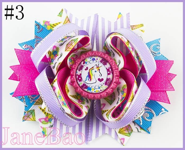 Free Shipping 12pcs  4.5'' Inspired Unicorn Hair Bows Cartoon  Rainbow Unicorn Hair Clips Happy Birthday Bows
