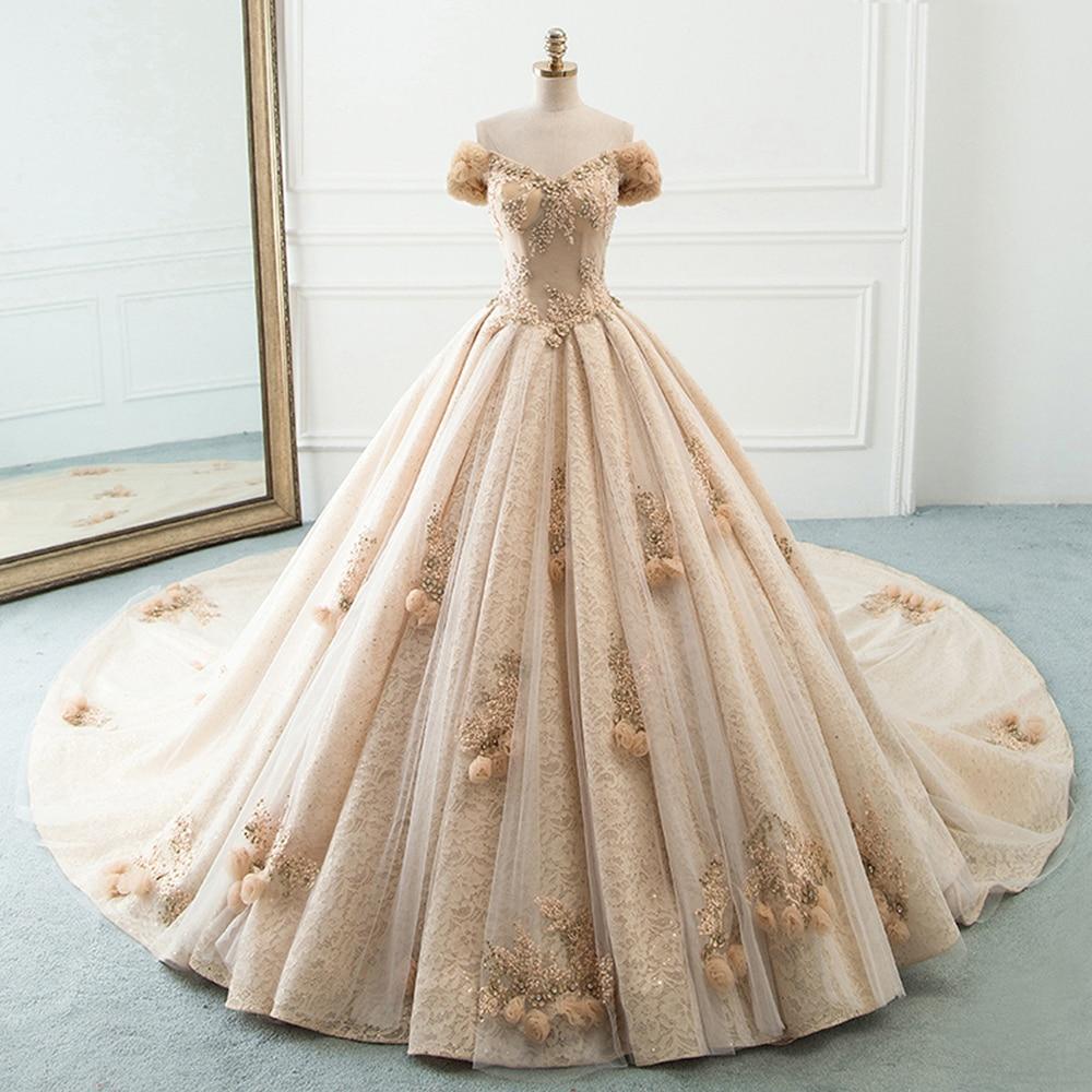 Vestido De Noiva New Arrival Champagne Tulle Ball Gown Wedding Dresses 2019 Hand Made Flowers Luxury Bride Dress Robe De Mariee