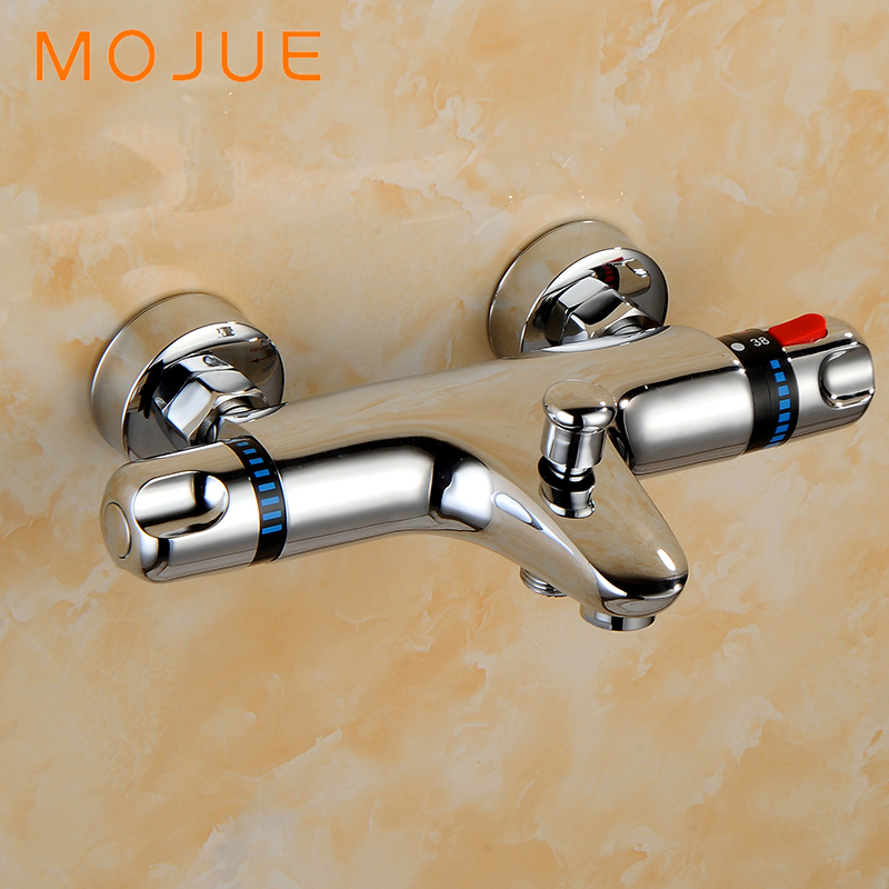 MOJUE thermostatic shower set Mixer with thermostat bathroom Thermostat Valve Wall Mounted High Quality MJ8236 free shipping new arrival brass chrome bathroom luxury wall mounted thermostatic mixer valve rain shower mixer set