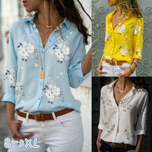 Beach casual plus size 5xl Flowers Print women blouse summer thin tunic white oversized shirt 2019 new vogue office blouses top