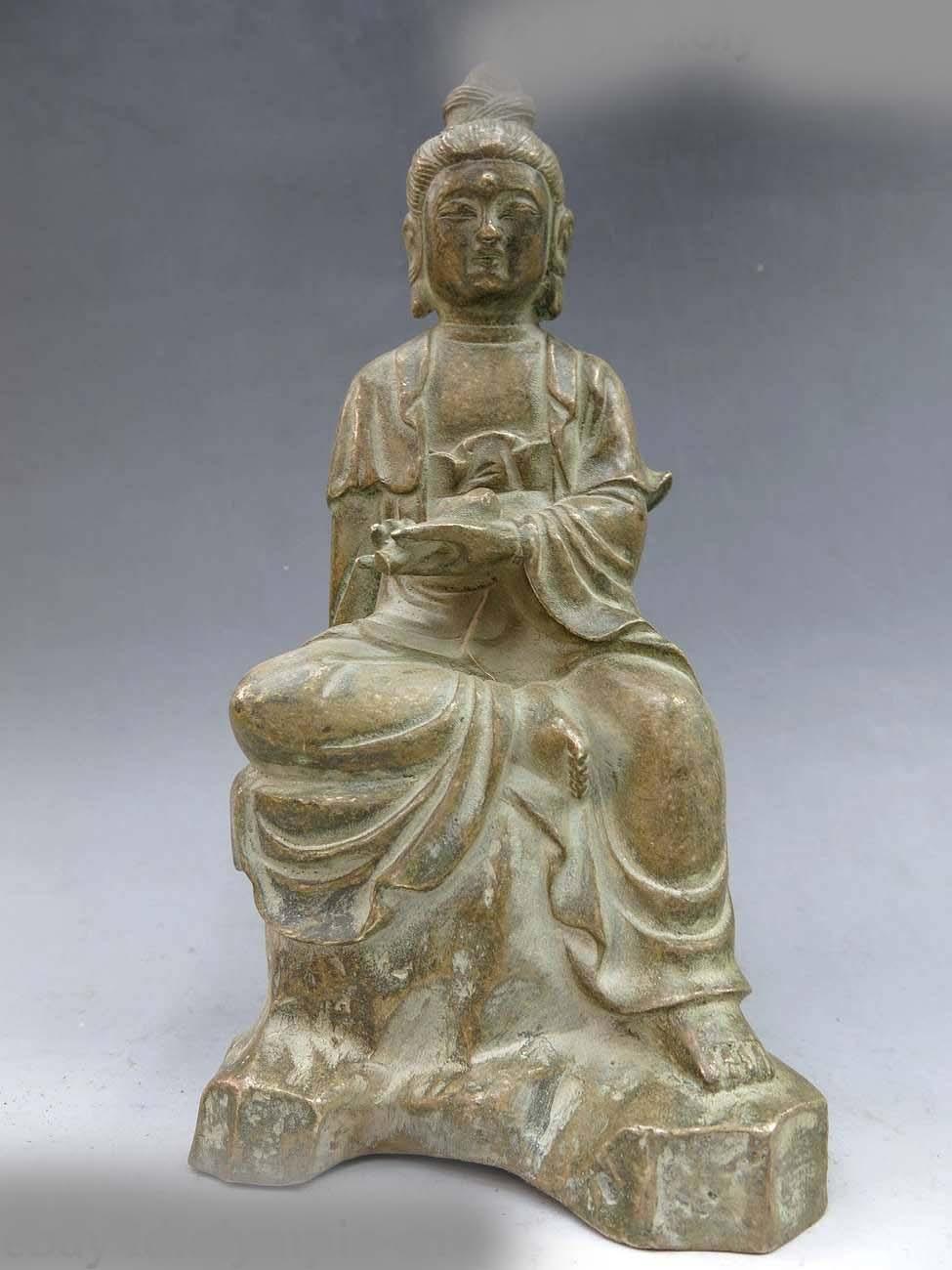 DS 9 China bronze old carved beautiful buddhism comfortable Kwan-yin buddha StatueDS 9 China bronze old carved beautiful buddhism comfortable Kwan-yin buddha Statue