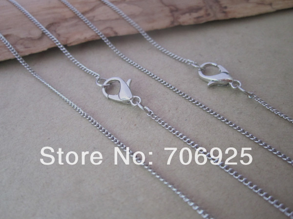 1mmx2mm 17inche white K round shape Link chain with Lobster clasp 40pcs lot in Chain Necklaces from Jewelry Accessories