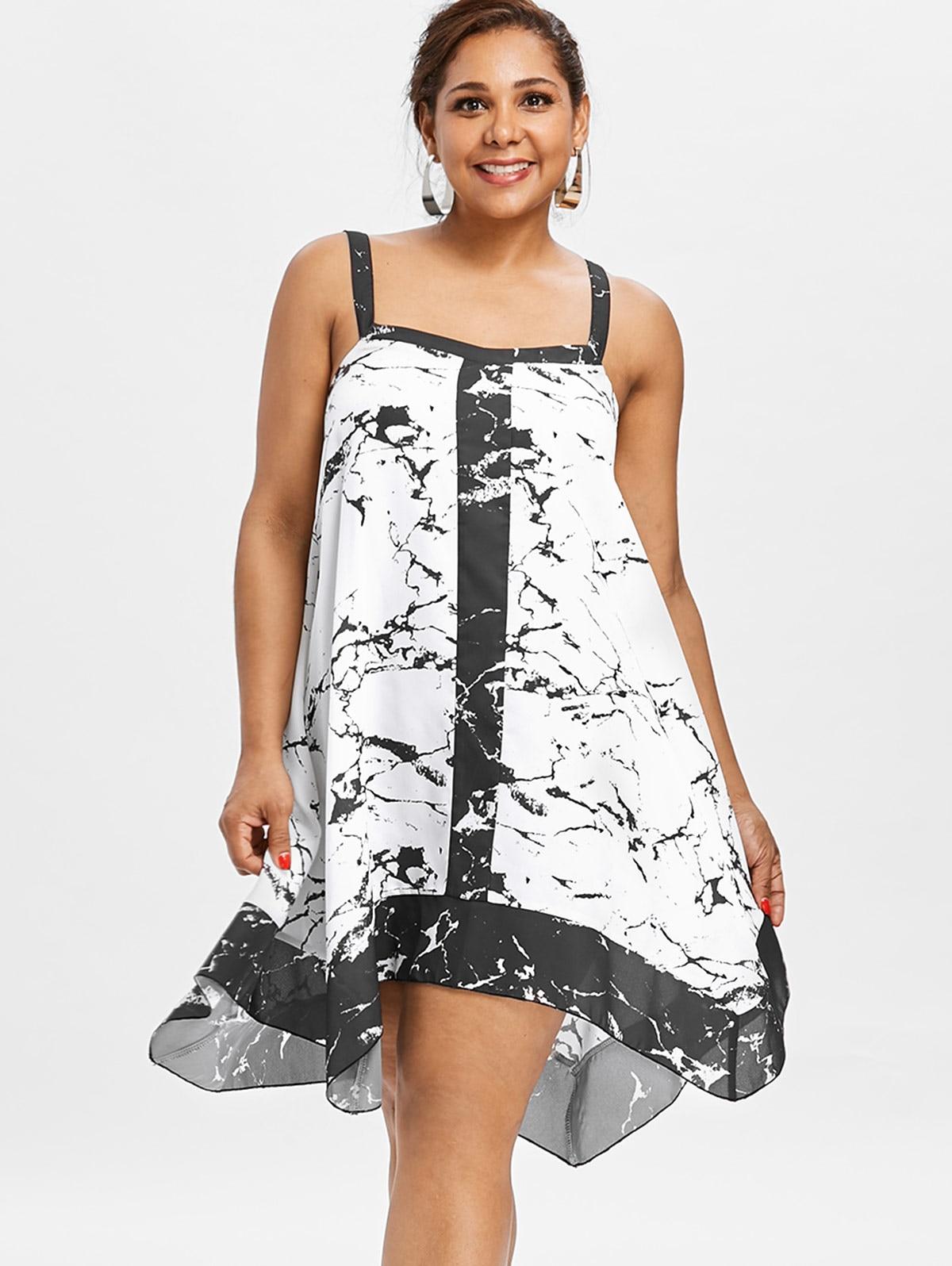 e5b07e600824f AZULINA Plus Size Marble Pattern Asymmetrical Dress Sweetheart Neck  Sleeveless Mini Dresses Summer Loose Women Dress Vestidos