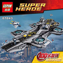 DHL 3057PCS LEPIN 07043 Superheroe the Shield Helicarrier Aircraft Carrier Building Block Kits Minifigure Compatible Legoe 76042