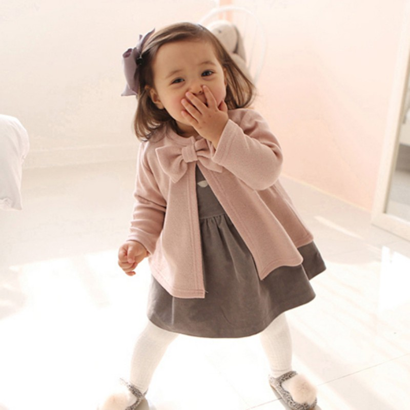 Baby Girls Clothes Coat Girl Jacket Coats Kids Cotton Bow-Knot Long Sleeve Dress Jackets Children Spring Autumn Clothes Tops spring autumn cute baby kids girls party dress kids clothes cotton toddler girl clothing long sleeve baby girl princess dress