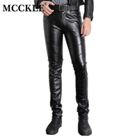 Super Skinny Mens Faux Leather Pants PU Material Black Slim Fit Motorcycle Leather Trousers For Male