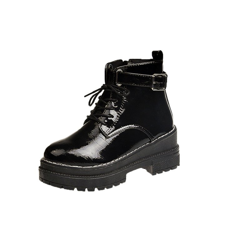 Image 2 - Aleafallling Women Boots Thicken Warm Winter Snow Boots Thicken Non slip Zip Girl's Leather Shoes For College Students AMBT199-in Ankle Boots from Shoes
