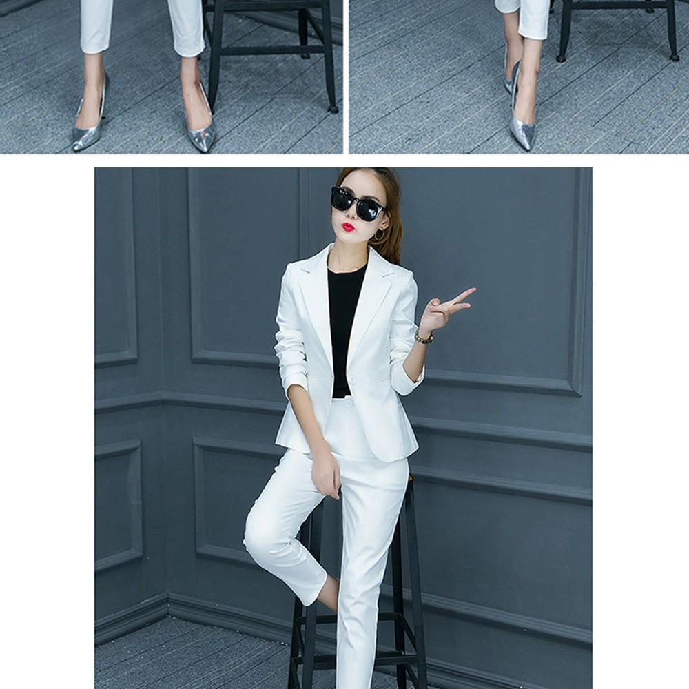 2017 w nowym stylu mody OL eleganckie kobiety pant suits formalna firm garnitur nosić pełne rękawem jednego przycisku femme blazer garnitur szczupła kurtka 12