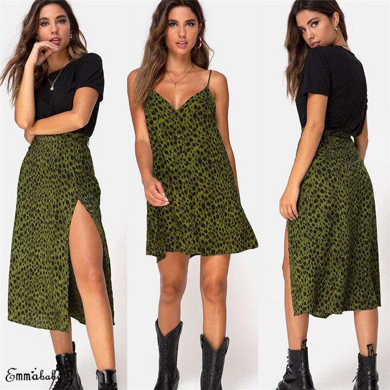 Women Leopard Dress Summer Womens Fashion V-neck Loose Open Leopard Splice Print Button Casual Dress 2019 Vestido