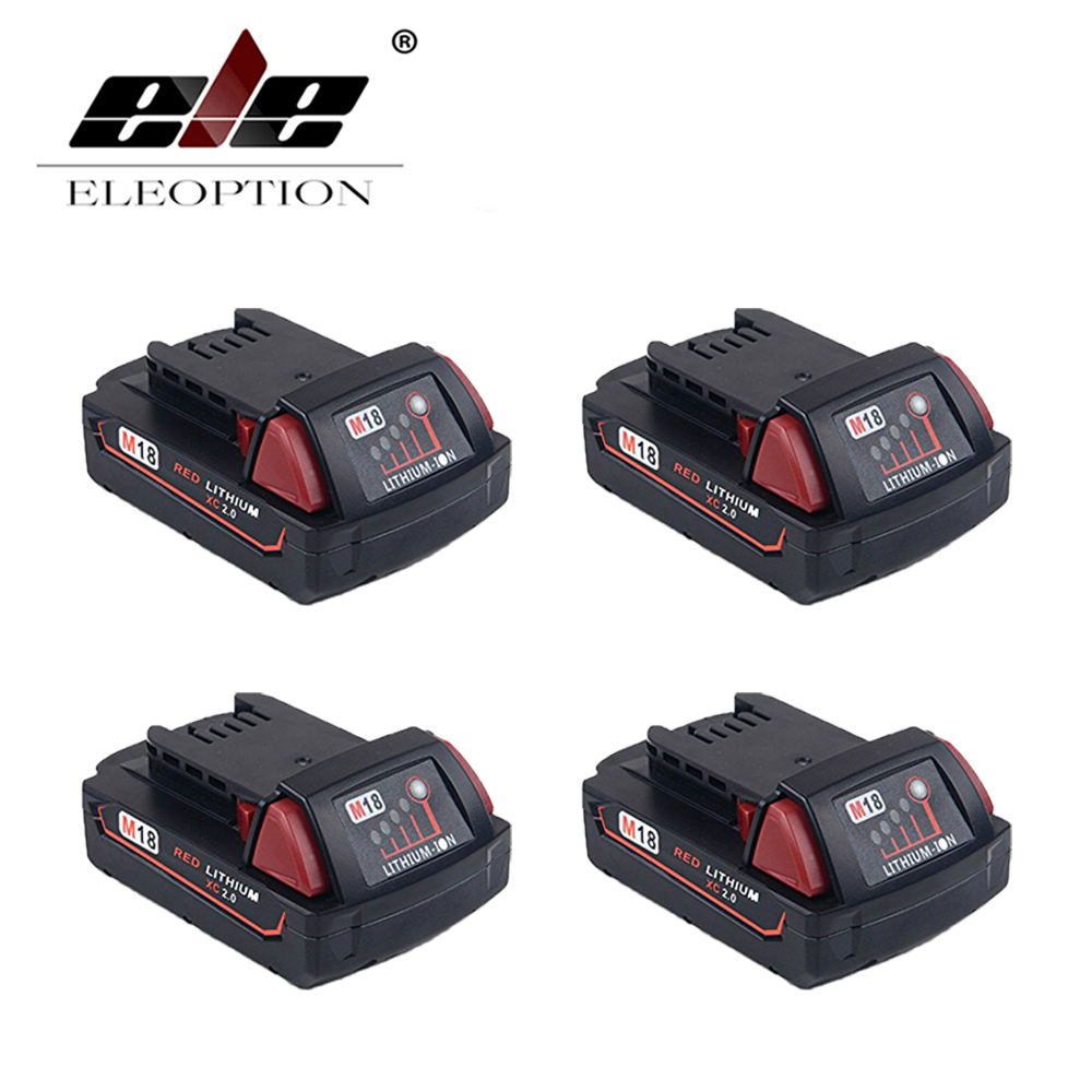 ELEOPTION 2000mAh 18V Li-Ion Replacement Rechargeable Power Tool Battery for Milwaukee M18 XC 48-11-1820 M18B2 M18B4 M18BX 18v 6000mah rechargeable battery built in sony 18650 vtc6 li ion batteries replacement power tool battery for makita bl1860