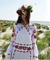 Mujeres Amor Cecelia Blanco de Verano Mini Vestido de Manga Larga Floral Bordado Vestido de Encaje Atractiva Ahueca Hacia Fuera el Bordado Crepe Mini Vestido