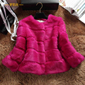 Genuine rabbit fur coats women wave cut O neck 3/4 sleeve autumn winter 2017 short design real rabbit fur coat women's jacket