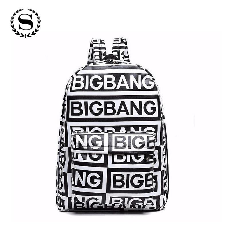 Korean Style Fashion Backpacks K-pop Bigbang Canvas Fans G-dragon Punk Rock School Bag for Teenager Girls Backpack Mochila 421t