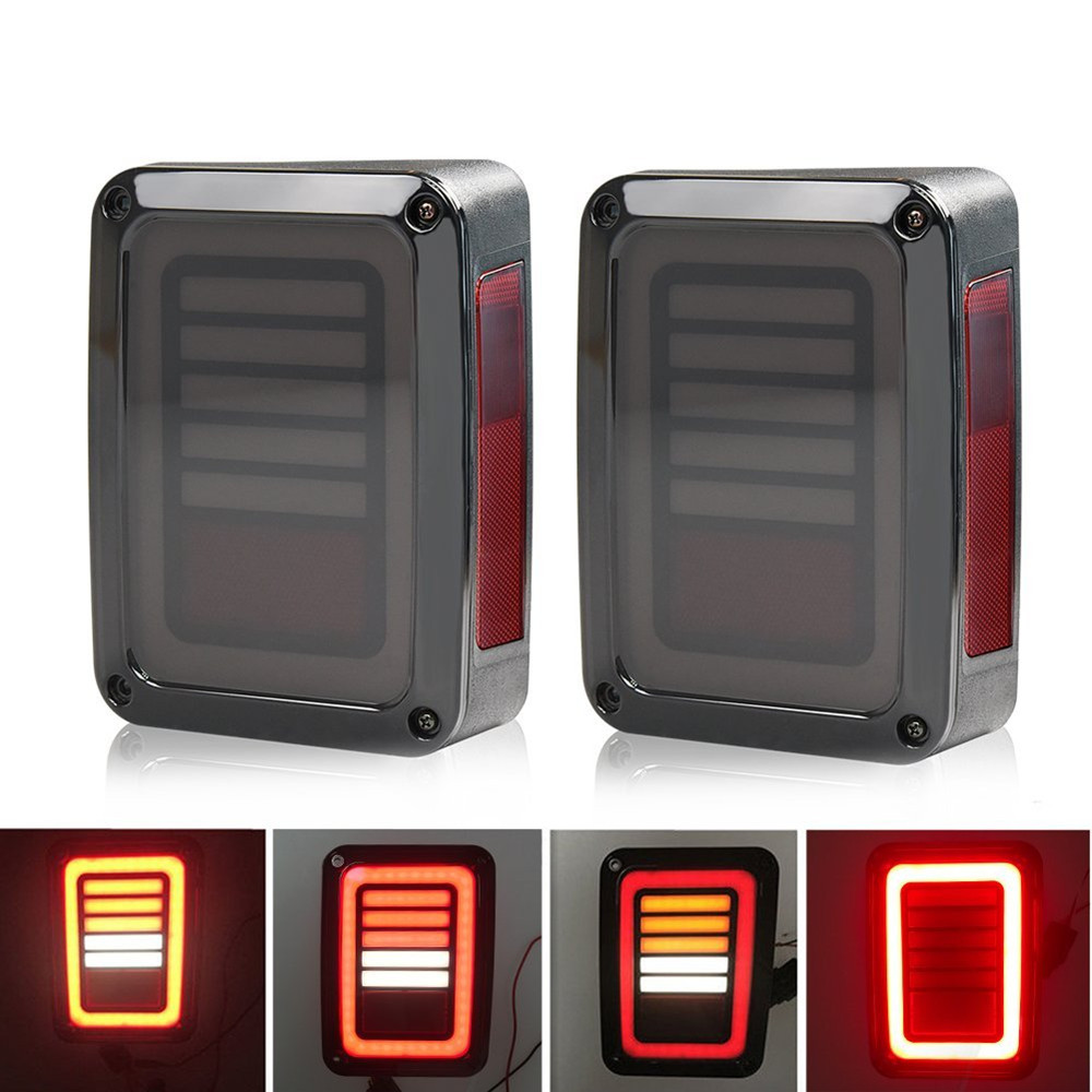 Smoked LED Tail Lights For Jeep Wrangler Taillights For Jeep Wrangler JK JKU Sports, Sahara, Freedom Rubicon 2007 - 2016 auxmart 22 led light bar 3 row 324w for jeep wrangler jk unlimited jku 07 17 straight 5d 400w led light bar mount brackets