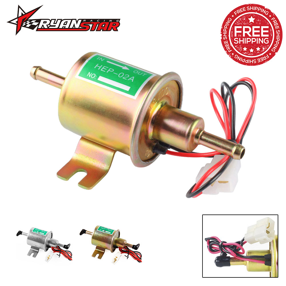 Fuel Pump 12v Electric Petrol Pump Low Pressure Bolt Fixing Wire Diesel HEP 02A Set Metal Gold Silver 8mm FP009-in Fuel Pumps from Automobiles & Motorcycles