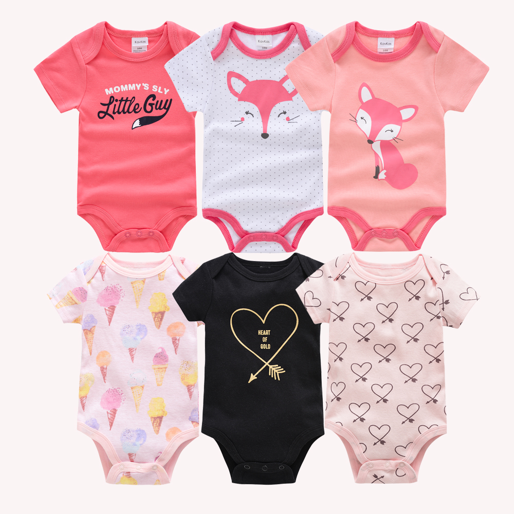 Kavkas Baby Girls Bodysuits 6 Pcs/lot Summer Cotton Baby Clothes Short Sleeve Newborn Body Bebe 0-3 Months Infant Clothing