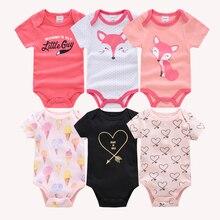 Kavkas Baby Girls Bodysuits 6 pcs/lot Summer Cotton Baby Clothes Short Sleeve Ne