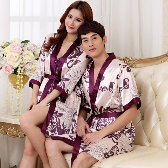3c82c631f2 Lovers Couple Robe Rayon Bathrobe For Women Man Kimono Bath Gown Unisex Sexy  Sleepwear Nightwear Wedding Robes Suit Nightgown