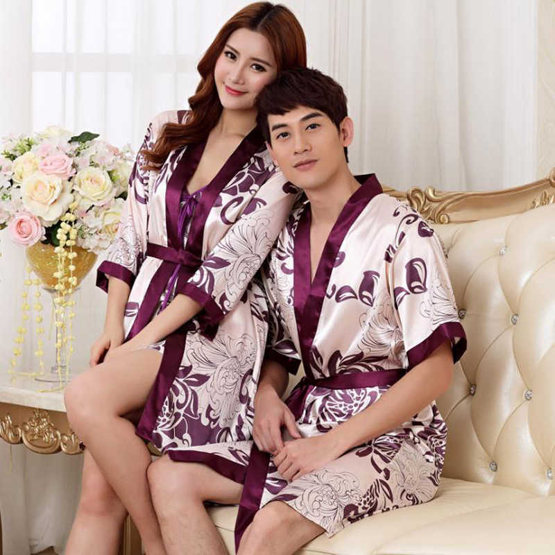bd6d039596 Lovers Couple Robe Rayon Bathrobe For Women Man Kimono Bath Gown Unisex  Sexy Sleepwear Nightwear Wedding Robes