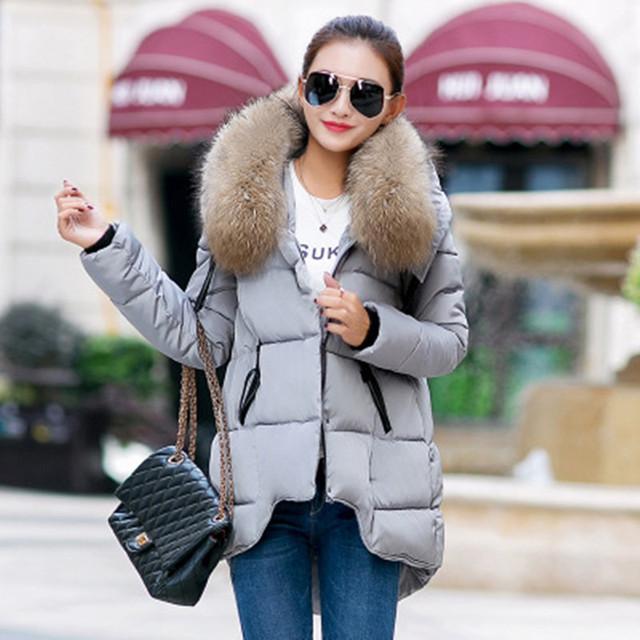 New Fashion Winter Jacket Women 2018 Large Fur Collar Women Cotton Coat Loose Long Sleeve Cotton Parka Coat Female Outwear