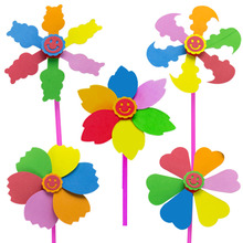 6pcs/set DIY windmill 20*25cm  windmill Classic Toys solids multicolors Wind Spinner Whirligig Garden Windmill plastic Toy